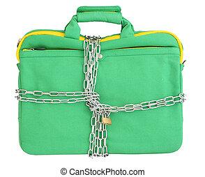 laptop, em, hortelã, saco, fechado, com, correntes, e, padlock., isolado, sobre, fundo branco