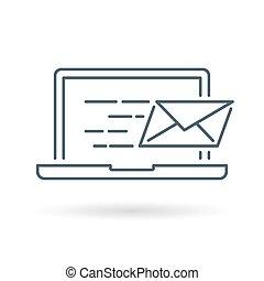 Laptop email icon white background