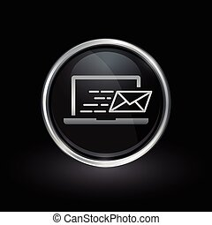 Laptop email send icon inside round silver and black emblem