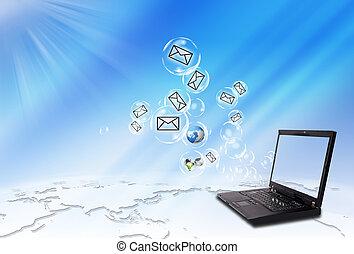 laptop, envelope, email, envie