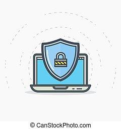 laptop, escudo, proteção