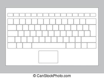 laptop, esquema, teclado