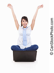 laptop, excitado, femininas, jovem