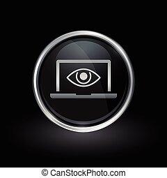 Laptop eye spy icon inside round silver and black emblem