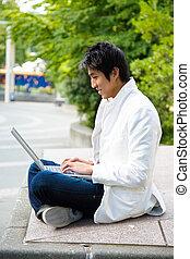 laptop, faculdade, asiático, estudante