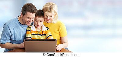 laptop, familie, computer.