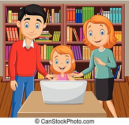 laptop, felice, cartone animato, famiglia, osservare