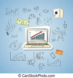 Laptop Finance Chart Business Concept Doodle