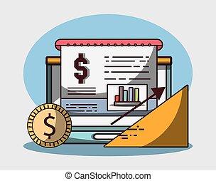 laptop, finanzielles wachstum, schaubild, tabelle, geschaeftswelt, geld, muenze, pfeil