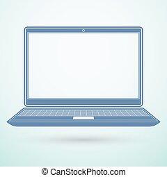 Laptop flat icon on blue background