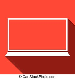 Laptop flat icon, vector illustration, red background
