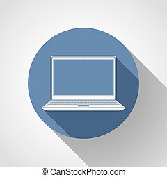 Laptop flat icon with long shadow.