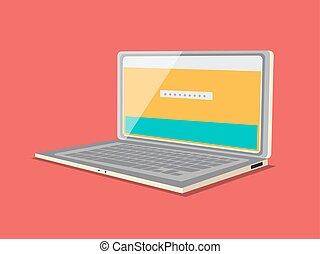 Laptop flat style minimalistic cartoon vector