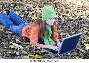 laptop, flicka
