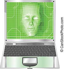 laptop, fogalom, ábra, nő