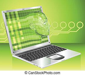 laptop, fogalom, háttér, ábra, nő
