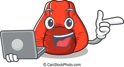 laptop, forma, saco, feijão, cadeira, caricatura