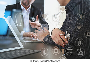 laptop, formeeting, jego, co, tabliczka, pracujący, medyczny, nowoczesny, pojęcie, komputer, cyfrowy, drużyna, biuro, szpital