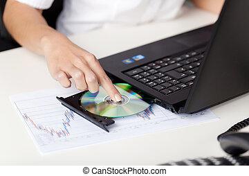 laptop, frau, setzen, sie, cd
