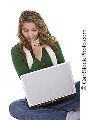 laptop, frau