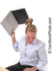 laptop, frau, werfen, 4