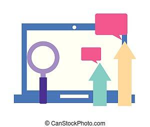 laptop, frecce, vetro, computer, bolla discorso, ingrandendo