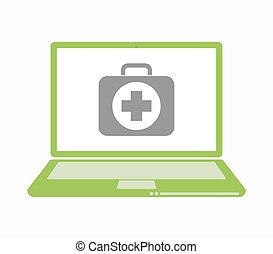 laptop, freigestellt, satz, hilfe, zuerst, ikone