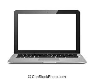 laptop, freigestellt, textanzeige
