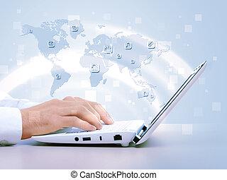 laptop, gegen, technologie, hintergrund