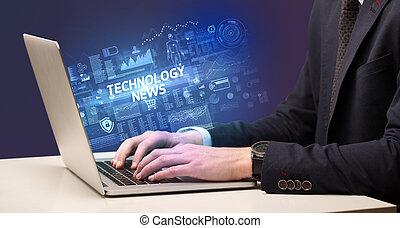 laptop, geschäftsmann, arbeitende