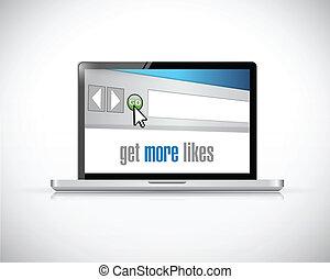 laptop get more likes concept illustration design over a ...