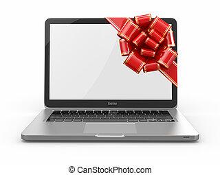 laptop, gift., arco, e, nastro, su, schermo