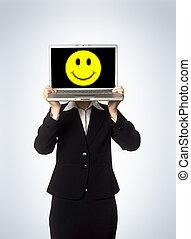 laptop, glücklich, weibliches gesicht