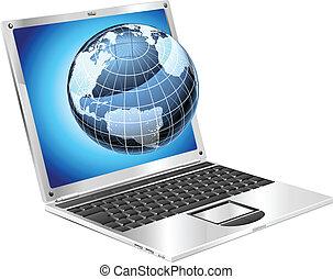 laptop, globo, conceito
