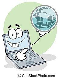 laptop, globo, presa a terra