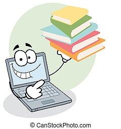 Laptop Guy Holding Books