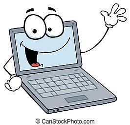 Laptop Guy Waving And Smiling