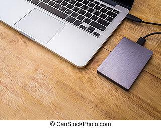 laptop, hård driva, dator, sammanhängande, yttre