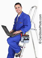 laptop, hím, munkás, kézműves