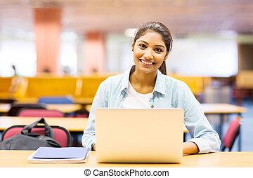 laptop, högskola, föreläsning, användande, flicka, sal