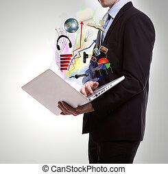 laptop, handlowiec