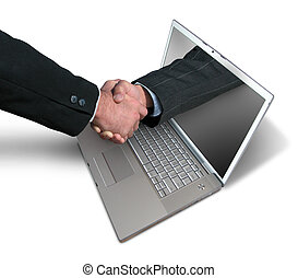 Laptop handshake - A hand comes right out of the laptop...