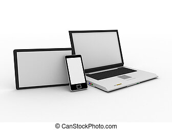 laptop, handy, und, digital tablette, pc computer