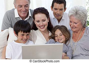 laptop, használ, pamlag, család, ülés