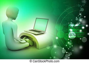 laptop, homem, meditação, 3d