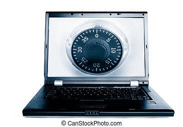 laptop, hos, en, kombination, lock(computer, security)