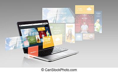 laptop, hos, internet, andragender, på, skærm