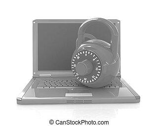 laptop, hos, lås