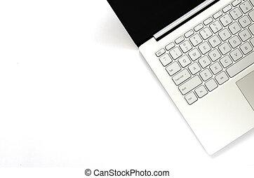laptop, hos, sort, skærm, på hvide, baggrund.