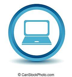 Laptop icon, blue, 3D